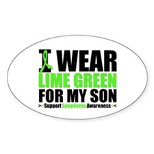 I Wear Lime Green For My Son Oval Sticker (10 pk)