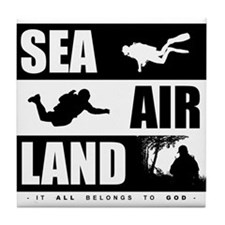 'God's Sea Air Land' Tile Coaster