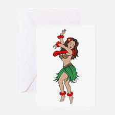 Hawaiian Hula Dancer Tattoo Greeting Card
