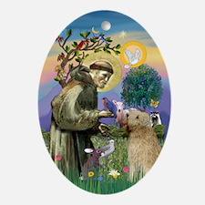 Saint Francis & Wheaten Terrier Keepsake (Oval)
