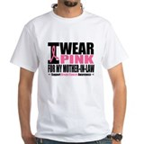 I wear pink for my mother in law Mens White T-shirts