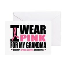 I Wear Pink For My Grandma Greeting Cards (Pk of 1