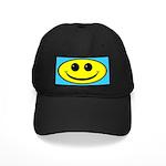 Oval Smiley Face - Black Cap