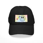 Rainbow Smiley Black Cap