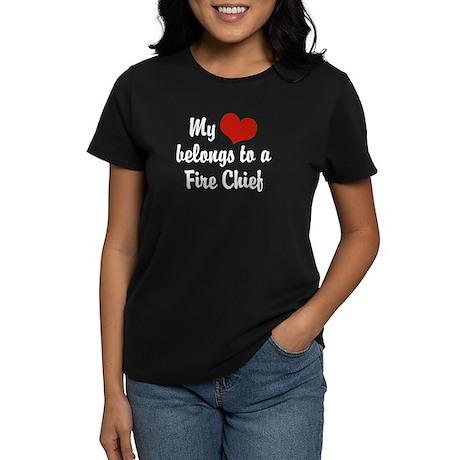 My Heart Belongs to a Fire Chief Women's Dark T-Sh
