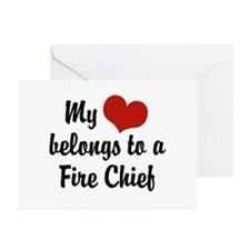 My Heart Belongs to a Fire Chief Greeting Cards (P