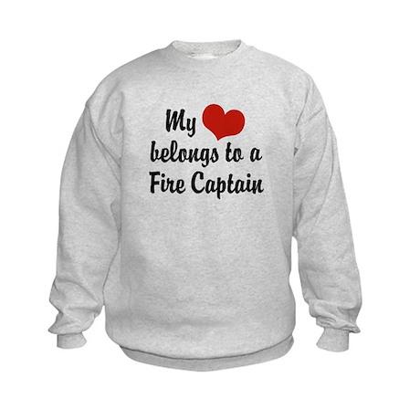 My Heart Belongs to a Fire Captain Kids Sweatshirt