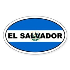 El Salvador Flag Oval Decal