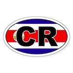 Costa Rica (CR) Flag Oval Sticker