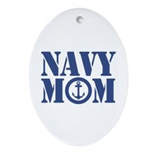 Navy Mom Oval Ornament