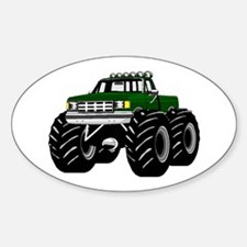 GREEN MONSTER TRUCKS Oval Decal