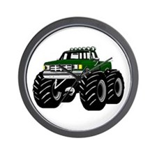 GREEN MONSTER TRUCKS Wall Clock
