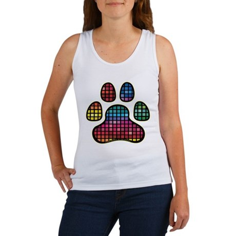 Stained Glass Rainbow Paw Women's Tank Top