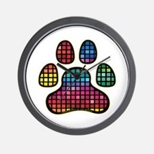 Stained Glass Rainbow Paw Wall Clock