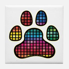Stained Glass Rainbow Paw Tile Coaster