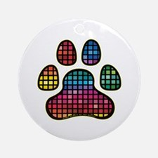Stained Glass Rainbow Paw Ornament (Round)