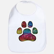 Stained Glass Rainbow Paw Bib