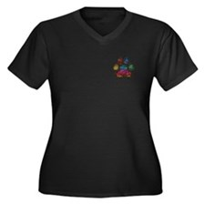 Stained Glass Rainbow Paw Women's Plus Size V-Neck