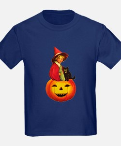 Girl Witch on Pumpkin T