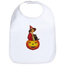 Girl Witch on Pumpkin Bib