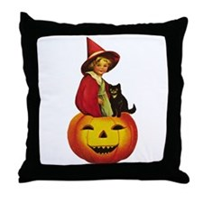 Girl Witch on Pumpkin Throw Pillow