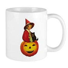 Girl Witch on Pumpkin Mug