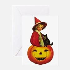 Girl Witch on Pumpkin Greeting Card