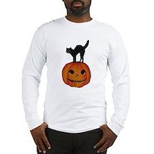 Black Cat on Jack-O-Lantern Long Sleeve T-Shirt
