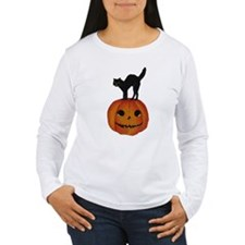 Black Cat on Jack-O-Lantern T-Shirt