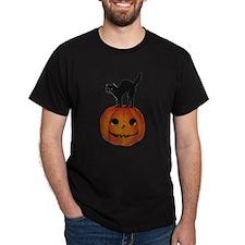 Black Cat on Jack-O-Lantern T-Shirt