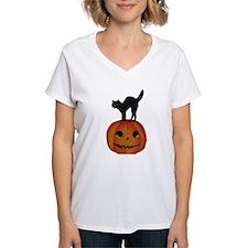 Black Cat on Jack-O-Lantern Shirt