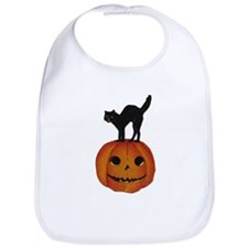 Black Cat on Jack-O-Lantern Bib