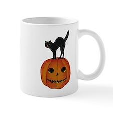 Black Cat on Jack-O-Lantern Mug