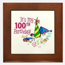 It's My 100th Birthday (Party Hats) Framed Tile