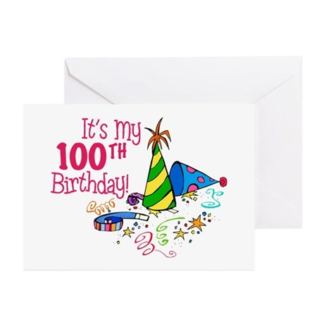 It's My 100th Birthday (Party Hats) Greeting Cards