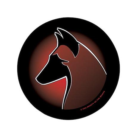 "Red Sun Malinois 3.5"" Button"