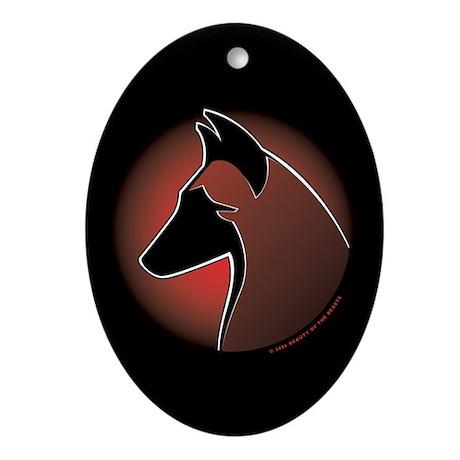 Red Sun Malinois Oval Ornament