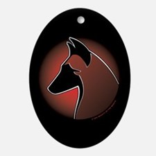 Red Sun Malinois Oval Ornament