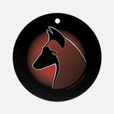 Red Sun Malinois Ornament (Round)