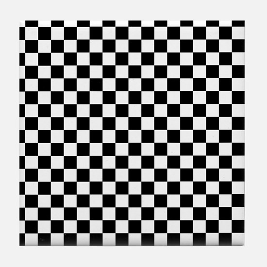 Black White Checkered Tile Coaster
