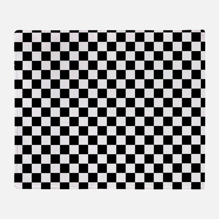 Black White Checkered Throw Blanket