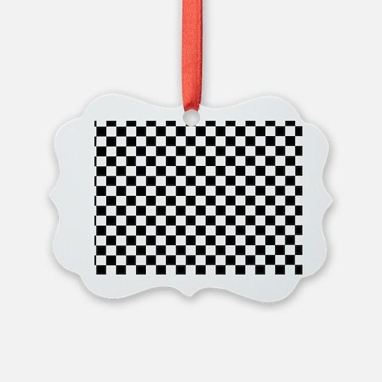 Black White Checkered Ornament