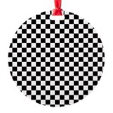 8x10 black and white checkered Round Ornament