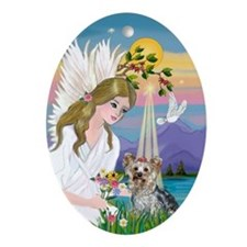 Angel and Yorkshire Terrier Keepsake (Oval)
