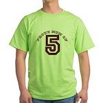 Proud Mom of 5 Green T-Shirt