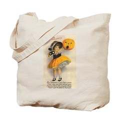Girl With Pumpkin Tote Bag