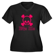 Bite Me Skull Pink Women's Plus Size V-Neck Dark T