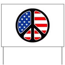 US Flag Peace Sign Yard Sign