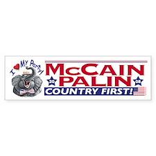 McCain Palin Love My Party Bumper Bumper Sticker