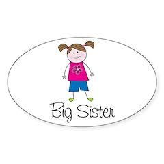 big sister shirt stick figure Oval Decal